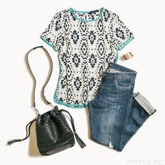 Cute top with fun print and splash of color
