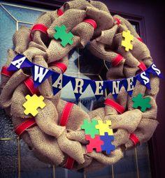 Autism Awareness Burlap Wreath 22 by TheCraftyChicShoppe on Etsy, $50.00