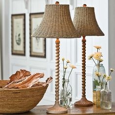 The Natural Wooden Twist Stem Lamps, each measure 13 x 13 x 34, perfect for your sideboard, flanking a mantle, as a desk or nightstand lamp...any place that needs height and grace in a fixture...love the woven shades!   This item is not returnable, except in the unlikely event of defect or damage.