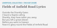 """""""FIELDS OF ANFIELD ROAD"""" LYRICS by LIVERPOOL COLLECTIVE + THE KOP CHOIR:  Outside the Shankly Gates."""