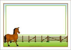 Horse-themed A4 page borders (SB7326) - SparkleBox