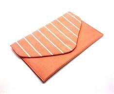 Coral Envelope Clutch Coin Purse Wallet Gift for Women Cotton Striped Orange Chintz Bag Magnetic Snap Great Gifts For Women, White Clutch, Coin Purse Wallet, Envelope Clutch, Etsy Shipping, Coral Color, My Etsy Shop, Purses, Check