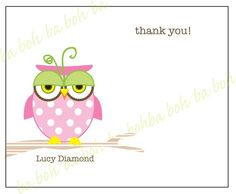 "LITTLE OWLS Printable Personalized ""Thank You"" Note Cards"