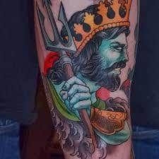 What does poseidon tattoo mean? We have poseidon tattoo ideas, designs, symbolism and we explain the meaning behind the tattoo. Small Celtic Tattoos, Small Chest Tattoos, Ankle Tattoo Small, Cute Thigh Tattoos, Full Arm Tattoos, Leg Tattoos, Awesome Tattoos, Tatoos, Rare Tattoos