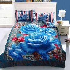 DHL Free Shipping 100% Pure Cotton 3D bedding set Luxruy Home Textile 4 pcs Duvet Cover Flower Bedspreads Large Size