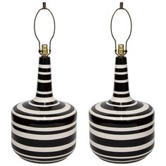 A Large Mid Century Pair of Striped Italian Glazed Ceramic Lamps | From a unique collection of antique and modern table lamps at http://www.1stdibs.com/furniture/lighting/table-lamps/