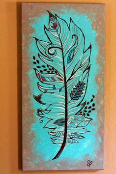 Feather Canvas Painting with cut out details by FireFliesInk, $73.00 Pin if you think this painting is awesome!