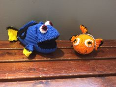 Crochet Dory and Nemo. I make and sell these or you may use the free PDF to create your own. Please do not use my pattern to sell your own.