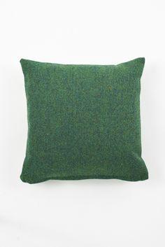 LANE 'TWIN TONE' TWEED WOOL CUSHION: FOREST GREEN & ACID PEA GREEN £65 43cm x 43cm
