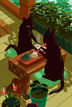 Find images and videos about black, cat and illustration on We Heart It - the app to get lost in what you love. Art And Illustration, Website Illustration, Cat Illustrations, Inspiration Art, Art Inspo, Art Mignon, Kawaii, Oeuvre D'art, Crazy Cats