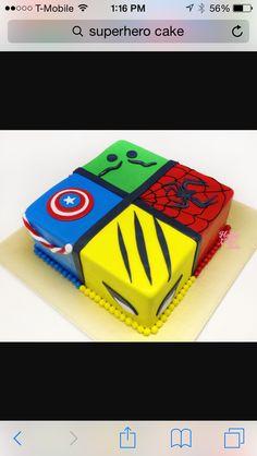 Marvel Heroes Cake - Captain, Hulk, Spidey & Wolverine -- actually looks doable! Thor Cake, Marvel Cake, Mini Tortillas, Hulk Cakes, Avenger Cake, Avengers Birthday, 4th Birthday Parties, Birthday Cakes, Birthday Ideas