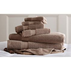 6 Piece Standard Luxury 100% Egyptian Cotton Towel Set Mocha - 5CTN650G-MOC-ST
