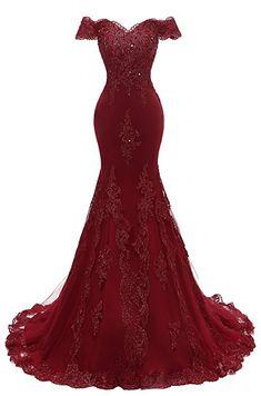 Amazon.com: Himoda Women's V Neckline Beaded Evening Gowns Mermaid Lace Prom Dresses Long H074 2 Burgundy: Clothing