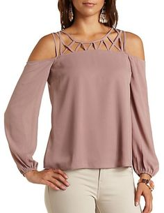 Caged Yoke Cold Shoulder Top