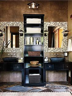 Our bathroom is small, but I would love to do a one-sink version of this.  And I already have the sink!!  Also, I would like to build my makeup vanity into the bottom half of the shelving unit.
