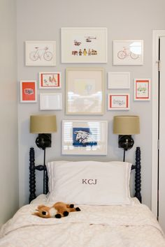 boys room - put their art or pictures they like above their bed