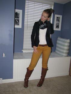 Plaid scarf, jean blazer, and mustard pants