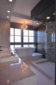 Contemporary Master Bathroom with Rain Shower Head, Complex Marble Tile, Dual shower heads, Handheld Shower Head, Dual sinks Dream Bathrooms, Beautiful Bathrooms, Master Bathrooms, Narrow Bathroom, Concrete Bathroom, Modern Master Bathroom, White Bathrooms, Luxury Bathrooms, Simple Bathroom
