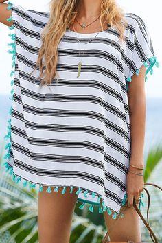 Stripe Scoop Neck Cover-Up