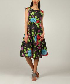 Loving this Black Floral A-Line Dress - Women & Plus on #zulily! #zulilyfinds
