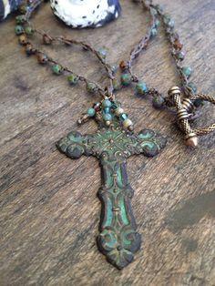 "Turquoise Patina Cross Pendant Necklace ""Vintage Boho Chic"""