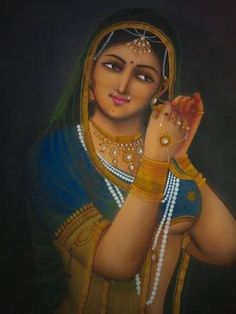 Indian Lady Art Print by Jitendra r Sharma. All prints are professionally printed, packaged, and shipped within 3 - 4 business days. Choose from multiple sizes and hundreds of frame and mat options. Indian Artwork, Indian Paintings, Tanjore Painting, Indian Bridal Wear, Thing 1, Hindu Art, Woman Painting, Beautiful Paintings, Female Art