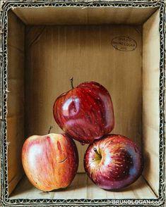 Trompe-l'oeil painting by Bruno LOGAN Still Life Drawing, Painting Still Life, Still Life Art, Realistic Paintings, Watercolor Paintings, Fruit Painting, Color Pencil Art, Fruit Art, Art Sketchbook