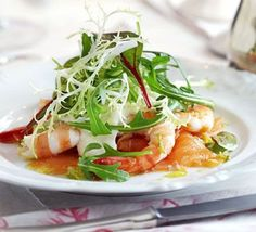 Smoked salmon with prawns, horseradish cream & lime vinaigrette recipe - Recipes - BBC Good Food Salmon Recipes, Fish Recipes, Seafood Recipes, Cheese Recipes, Chicken Recipes, Bbc Good Food Recipes, Cooking Recipes, Cooking Videos, Dinner Party Starters