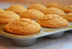 Pumpkin cornbread muffins: TESTED & PERFECTED RECIPE - These muffins, made with canned pumpkin purée, are lower in fat than regular cornbread muffins, yet they're equally delicious. Cornbread Muffins, Corn Muffins, Buttermilk Cornbread, Muffin Recipes, Bread Recipes, Eggless Recipes, Old Fashioned Bread Recipe, Canned Pumpkin Recipes, Best Pumpkin