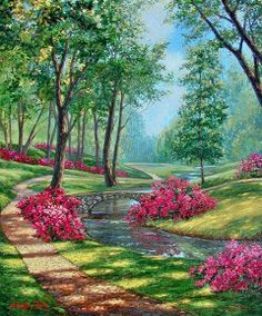 A grand garden scene of cascading sunlight and welcoming winding dirt path guiding the viewer around trees and blossoming vivid pink bushes. Beautiful Paintings, Beautiful Landscapes, Beautiful Gardens, Beautiful Flowers, Landscape Art, Landscape Paintings, Garden Painting, Belle Photo, Painting Techniques