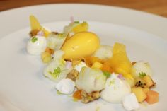 No bake cheesecake, streusel, key lime foam, mango glass, passion fruit mousse, tropical fruit and passion mango sorbet | by Pastry Chef Antonio Bachour