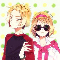 Switzerland and Belgium, Hetalia. For some reason, they made me think of Dave and Rose from Homestuck... Rose give Dave back his shades!