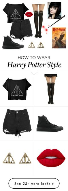 """""""Deathly Hallows"""" by catherinespider23 on Polyvore featuring Converse and Lime Crime"""