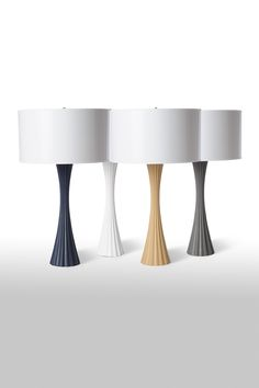 Fluted Table Lamp in Assorted Finishes design by Barbara Cosgrove