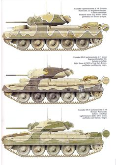 British Crusader II tank camo patterns