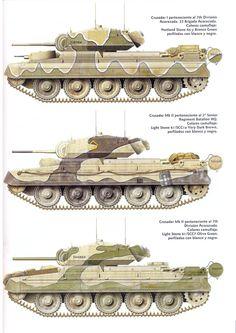 British Crusader II tank camo patterns