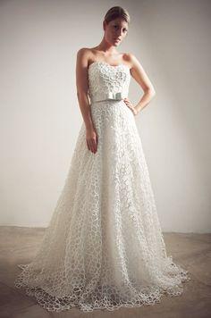 Guipure lace #wedding dress from Francesca Miranda, Fall 2012