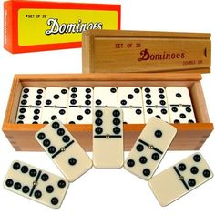 185880 Premium Set Of 28 Double Six Dominoes W/ Wood Case