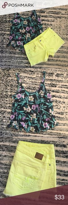 Floral Florescent Summer Combo This flowy floral tank top and florescent yellow shorts are the perfect summer outfit!! This combo is perfect to stand out in any crowd! Don't miss out before your next summer get together/occasion. American Eagle Outfitters Tops Tank Tops