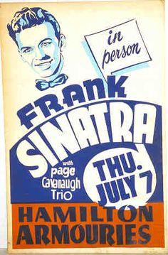 Frank Sinatra at Hamilton Armouries vintage poster Vintage Concert Posters, Vintage Posters, Vintage Ads, Retro Posters, Vintage Images, Tour Posters, Band Posters, Event Posters, Frank Sinatra Poster