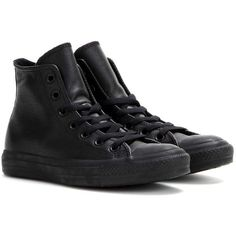 Converse Exclusive to mytheresa.com – Chuck Taylor All Star Leather... ($97) ❤ liked on Polyvore featuring shoes, sneakers, converse, trainers, black, leather sneakers, black high top sneakers, black sneakers, black high top shoes and leather high tops