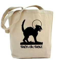 Black Cat Trick-Or-Treat - Tote Bag #pagankids  #pagan #samhain #halloween #witch #wicca #blackcat #moon #trickortreat