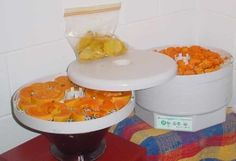 Food drying - Food dehydrator - This electric food dehydrator has a hot air blower that blows air through trays with foods on them. Pictured are mango and papaya slices being dried. Dehydrated Vegetables, Dehydrated Food, Canning Food Preservation, Preserving Food, Hydrating Foods, Healthy Snacks, Healthy Eating, Electric Foods, Dehydrator Recipes