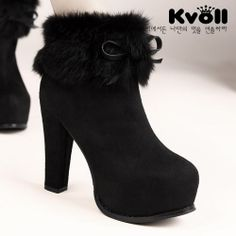 X56951 Kvoll Temperament Fluff Bowknot Ornament High-heeled Short Boots Black [X56951] - $26.25 : China,Korean,Japan Fashion clothing wholesale and Dropship online-Be the most beautiful Lady