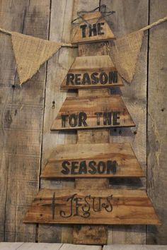 Reclaimed Wood Pallet Christmas Tree,  Winter Christmas, Home Decor, Jesus The Reason for The Season by littleredhenandco, $30.00 USD