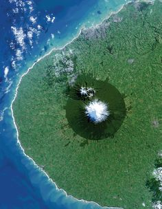 From space, Egmont National Park in New Zealand