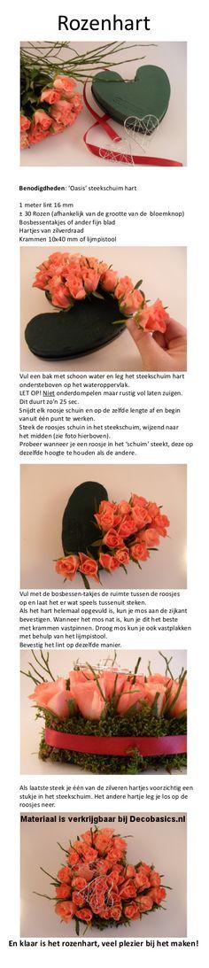 Rozenhart om zelf te maken! Leuk om iemand cadeau te doen. Om je tafel op te fleuren met een bloemetje. Of als 'ringenkussentje' van verse roosjes voor je bruiloft!