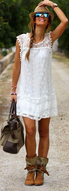 Boho Outfit Ideas - white sleeveless lace with boho booties leather handbag for Bohemain outfits