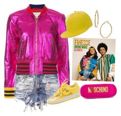 """""""Finesse  Bruno Mars X Cardi B """" by axelyamary ❤ liked on Polyvore featuring Gucci, NIKE, Moschino and Bony Levy 90s Hip Hop Outfits, 90s Outfit, Pink Outfits, Cute Outfits, Hip Hop Costumes, Dance Costumes, Hip Hop Party, Party Like Its 1999, Kylie Jenner Outfits"""