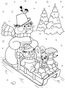 Cute Sledding In Winter Coloring Page See the category to find more printable coloring sheets. Also, you could use the search box to find what you wan. Coloring Pages Winter, Christmas Coloring Pages, Coloring Book Pages, Printable Coloring Pages, Coloring Pages For Kids, Coloring Sheets, Illustration Noel, Illustrations, Kindergarten Coloring Pages